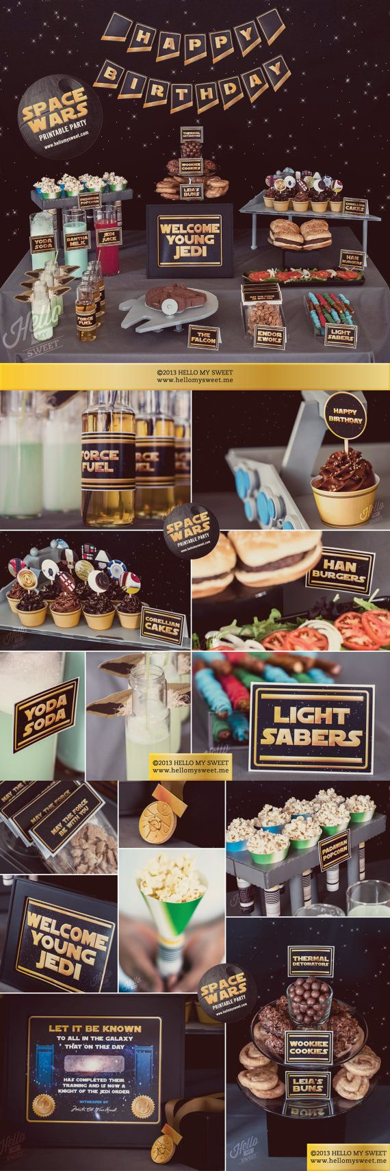This Star Wars party set has everything you need for a great party, just print and go! Includes signs, food labels, water bottle wraps, treat label wraps and more. #commissionlink #starwars #starwarsparty  #birthdayparty