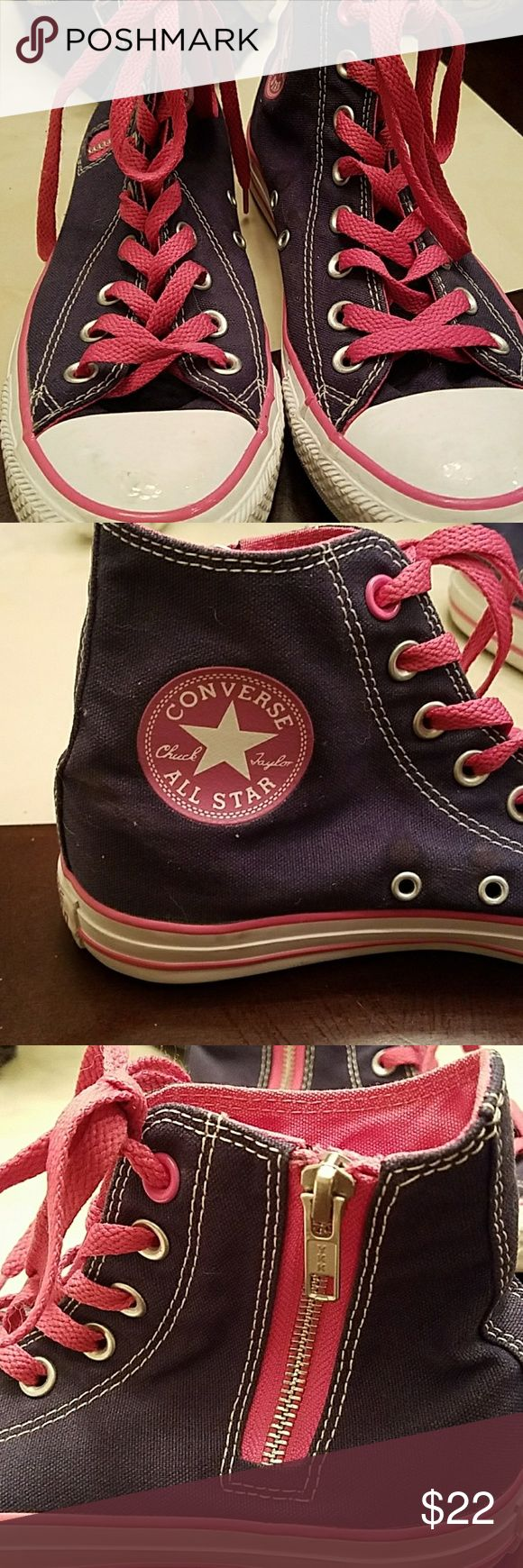 Sale!! $19 Converse high tops Navy w pink laces Converse high tops.  Really good condition as I didn't really wear them . Super cute! Converse Shoes