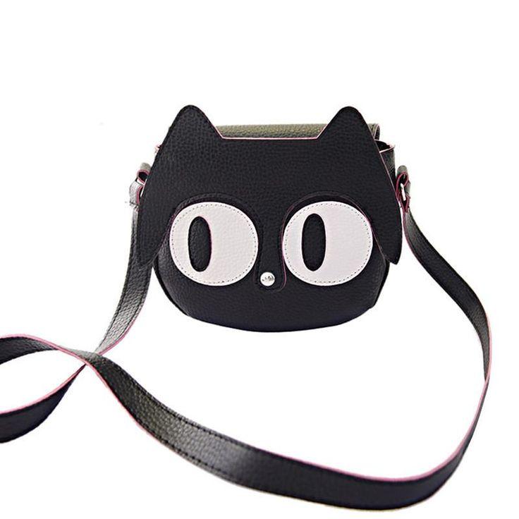 Adorable Big Eyes Kitten Small Vegan Leather Handbag