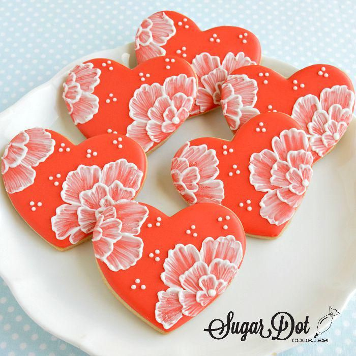 custom sugar cookies royal icing brush embroidered embroidery hearts flowers wedding frederick middletown maryland md