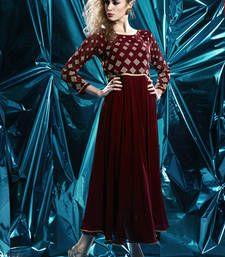 Buy Maroon Pure Georgette Stitched Kurti kurtas-and-kurti online