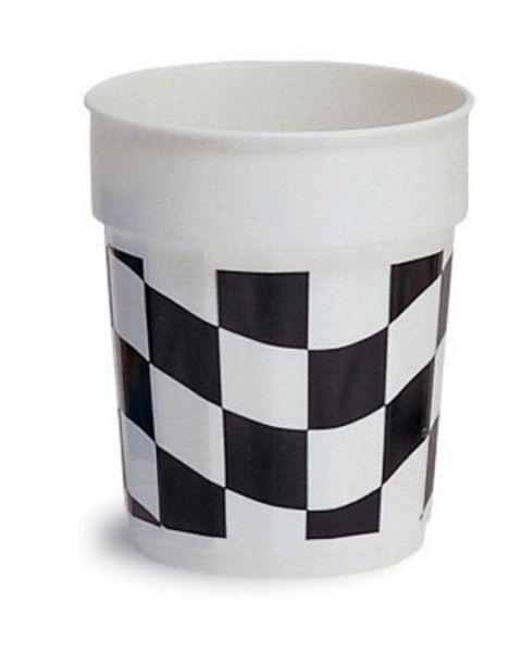 Black & White Racing Check 16oz Plastic Stadium Party Cups