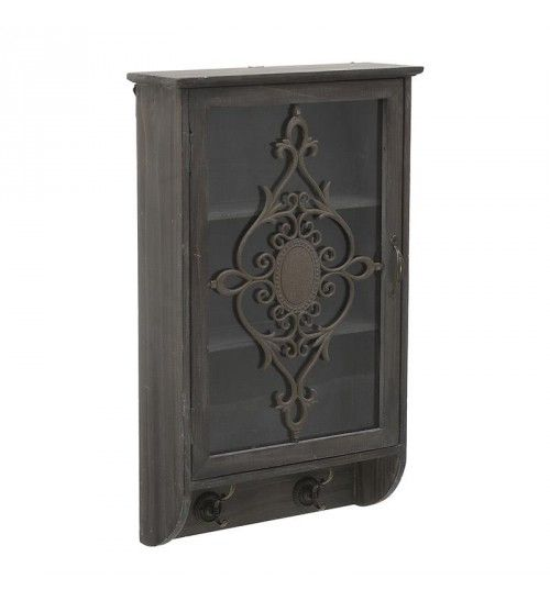 WOODEN_METALLIC WALL CABINET IN BROWN COLOR 37X12_5X60