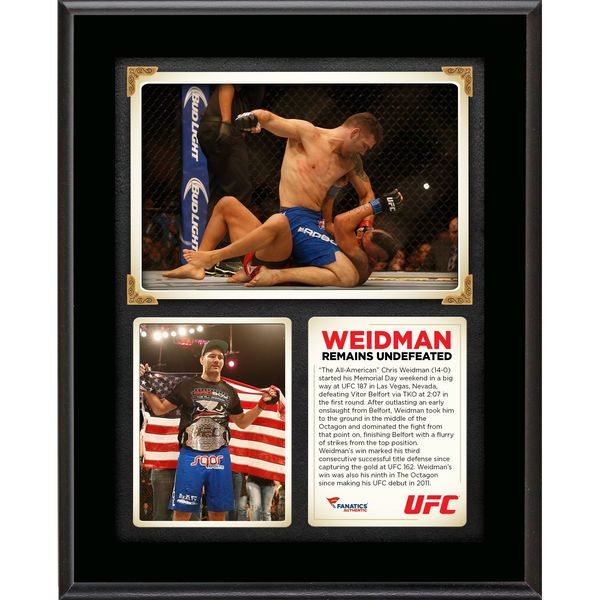 Chris Weidman Ultimate Fighting Championship Fanatics Authentic 10.5'' x 13'' UFC 187 Victory Over Vitor Belfort Sublimated Plaque - $29.99