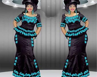 Robe africaine, robe brodée, style Mali, jupe africaine, turban africaine, mode africaine, design de Sénégambie, bazin broderie