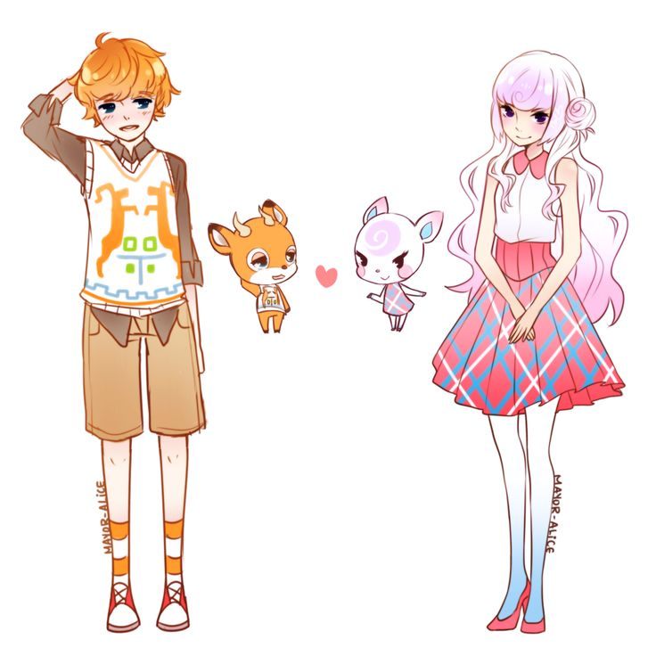 Beau and Diana from Animal Crossing - Woah how cool! Anime human version of animal crossing characters! Very cute