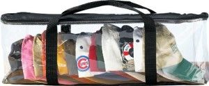 Miles Kimball Clear Cap Storage Case Stores up to 15 caps keeping the caps dust free. It is made with clear nylon and plastic. Wrap-around zipper offers easy access.  Does not take a lot of space  and can be stored under the bed.  http://awsomegadgetsandtoysforgirlsandboys.com/awesome-gadgets-for-your-room/ Awesome Gadgets For Your Room: Miles Kimball Clear Cap Storage Case