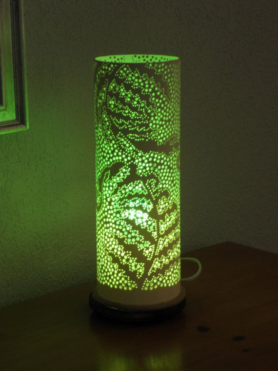 Good Fern Design Table Lamp. Handmade With Recycled PVC By GlowingArt