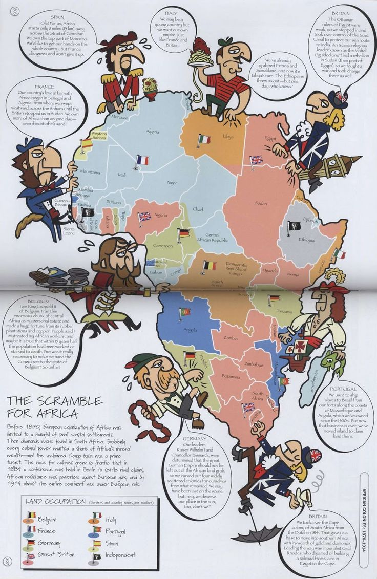 This map shows the Scramble for Africa in action when almost all of the European countries were invading, occupying, and claiming parts of Africa during 1881 to 1914. It became a land grab especially after the discovery of valuable resources. (History)