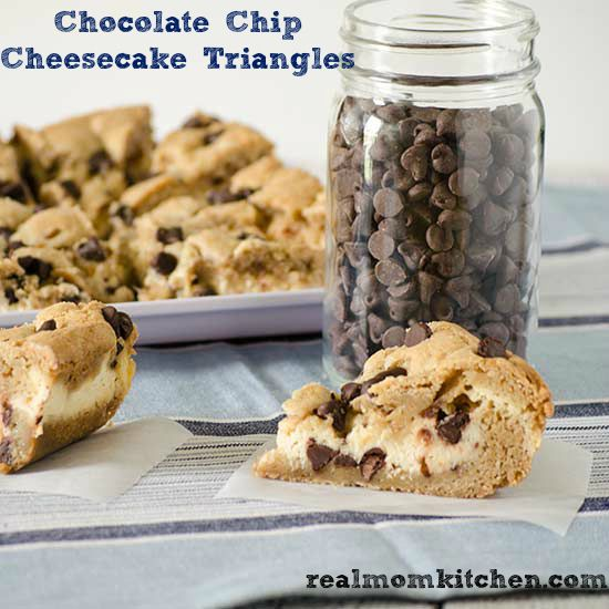 Chocolate chip cheesecake, Triangles and Cookie recipes on Pinterest