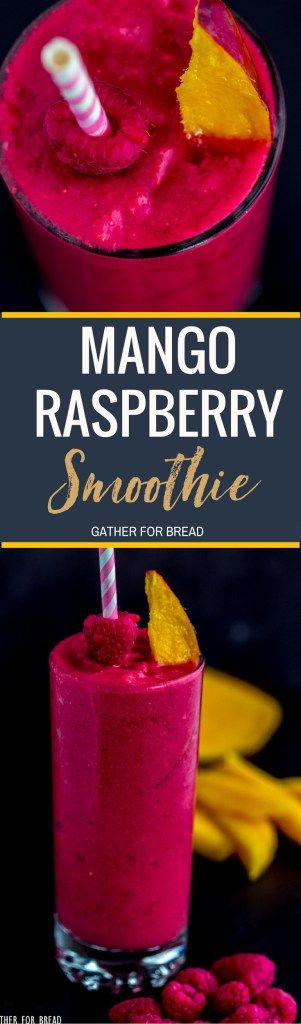 Mango Raspberry Smoothie – How to make thisnutritiousmango smoothie with berries and tropical flavors. It's the perfect healthy way to go. delicious and smooth, made without yogurt!  #recipe #smoothie #healthy #sips #nutrition #fitandfab #mango #raspberry