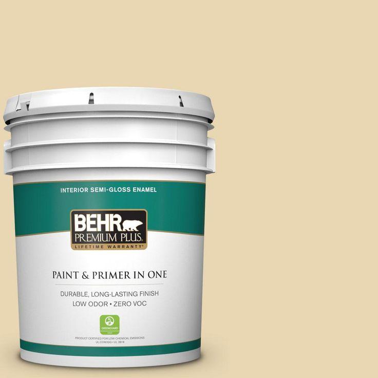 BEHR Premium Plus 5-gal. #ppf-13 Sunning Deck Zero VOC Semi-Gloss Enamel Interior Paint, Ppf-13 Sunning Deck Semi-Gloss