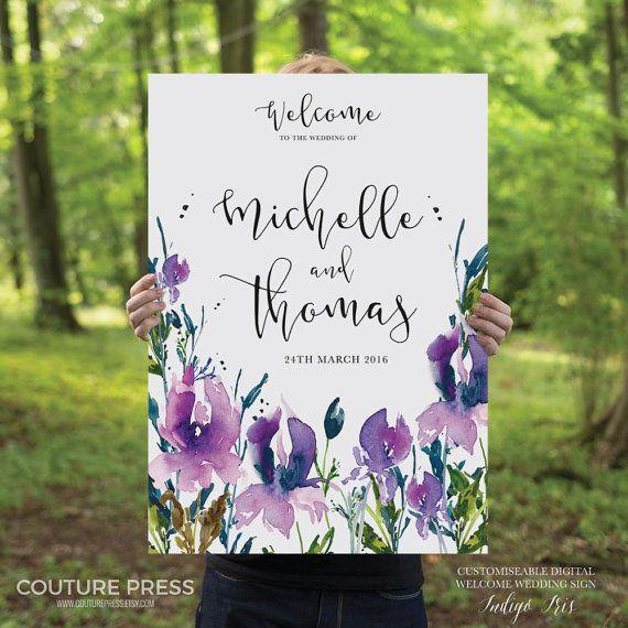 Printable Wedding Welcome Sign, Watercolor DIY Printable Sign, Wedding Signage - Indigo Iris