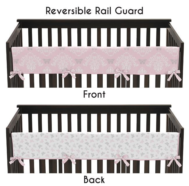 Create a boutique nursery with these gorgeous crib rail guard covers that will add safety and elegance in the nursery.  These crib rail guards feature a white, grey and pink butterfly and damask reversible design. #KidsRoom #AffordableBedding