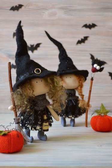 Bruja Una cocina muñeca-textiles hechos a por BroderieLittleCorner