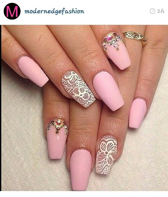 I want these nooooow! Pink and white lace gem nails