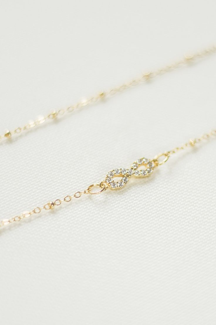 Zircon Necklace Infinity Necklace Minimal Necklace Modern Necklace Gold Necklace Girlfriend Gift Birthday Gift Minimal Jewelry