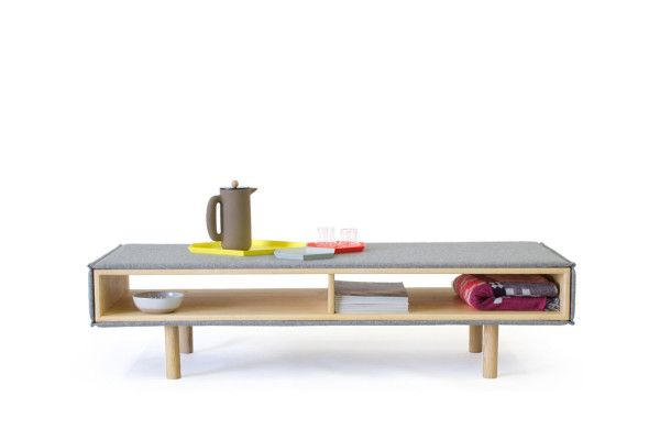 Inside out furniture: The coffee table is wood wrapped in wool. gorgeous Scandinavian design.