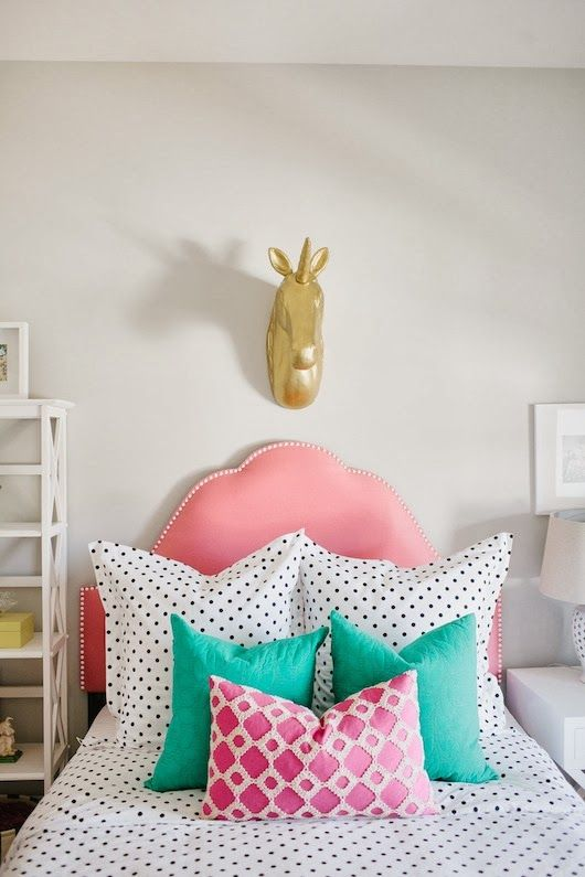 Like the headboard and the different prints