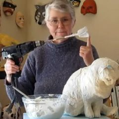 Adding paper mache clay to our cat sculpture - video # 6 in the tutorial series.