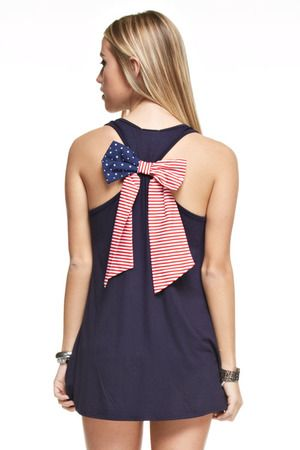 Woven American Flag Bow Back Tank Navy CLEARANCE