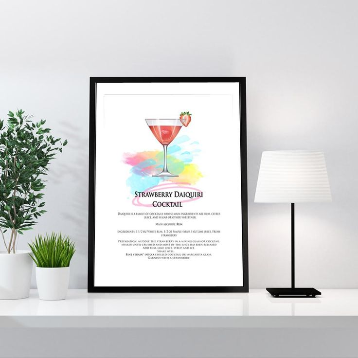 Cocktail - Strawberry Daiquiri Cocktail Art Print Cocktails / Strawberry Daiquiri Cocktail Art Print Our All you need is love print is great fun! Start your Monochrome Gallery Wall with this and add a few more from our Black and White Category. Please note our framed prints DO NOT Include a white border / mount / mat        around the image.  We use Premium Quality Inkjet Heavyweight Satin Paper which gives a sharp, crisp, clear look to all of our artworks. Its heavier weight gives it that…