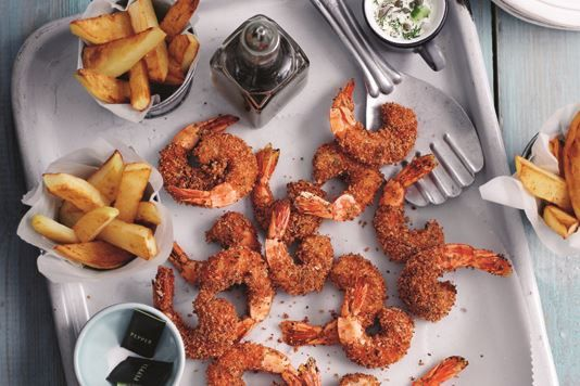 Low fat king prawn scampi, chips and tartare sauce recipe