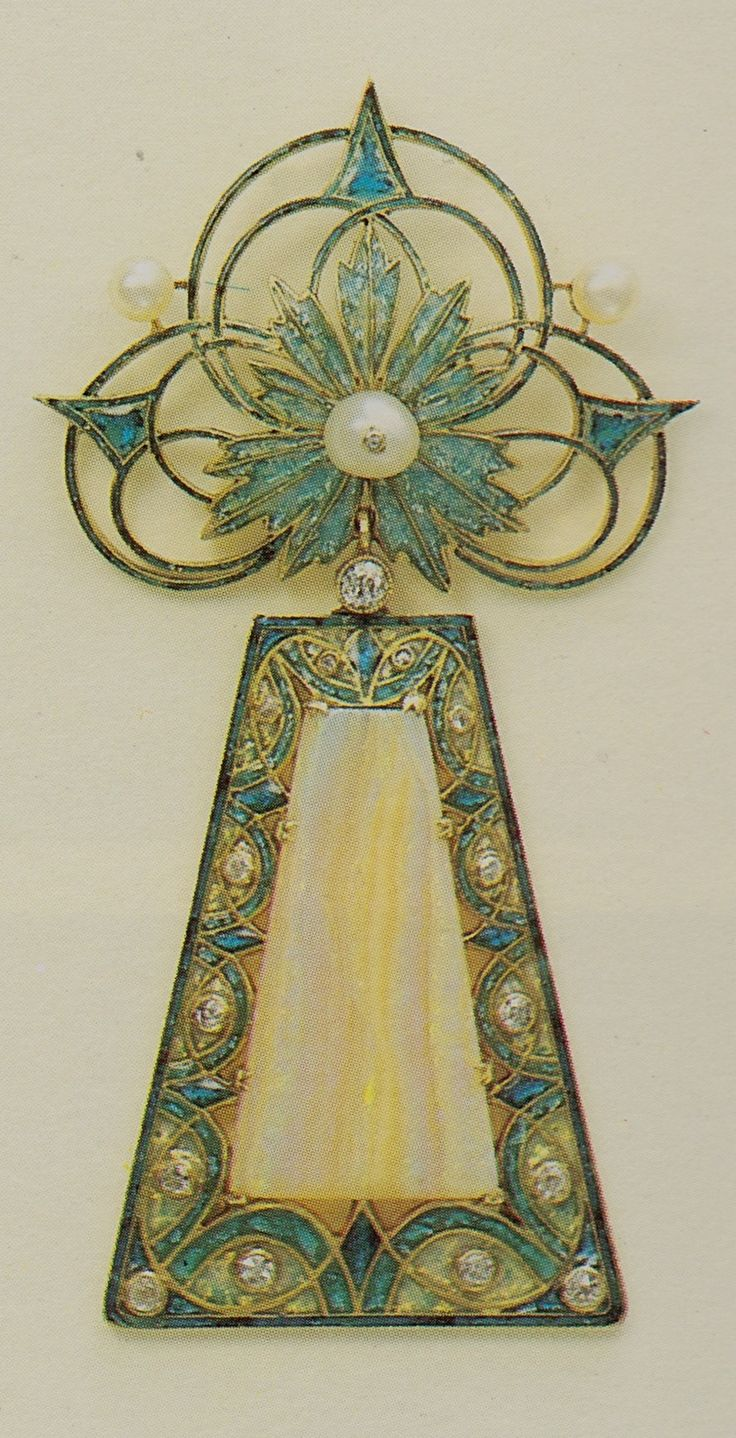 Georges Fouquet - An Art Nouveau gold, enamel, diamond, pearl and opal pendant, 1910-11. Signed G. FOUQUET, and numbered. Source: Die Fouquet 1860-1960 - Schmuck-Künstler in Paris. #Fouquet #ArtNouveau #pendant