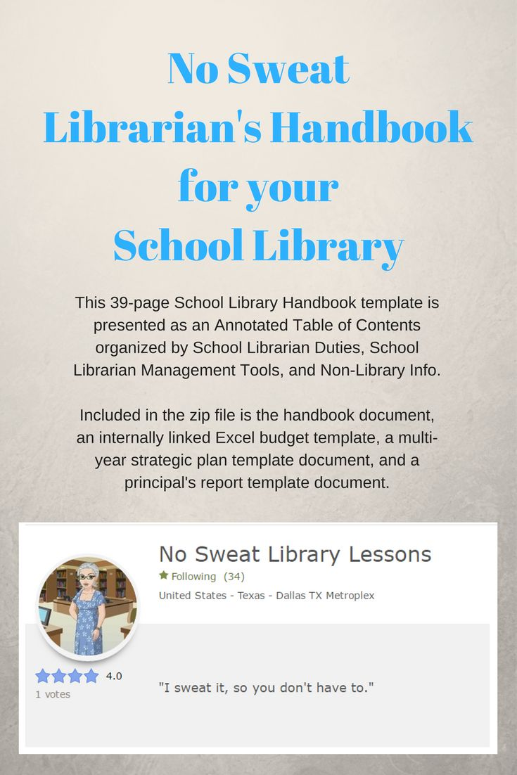 No Sweat Librarian's Handbook For Your School Library