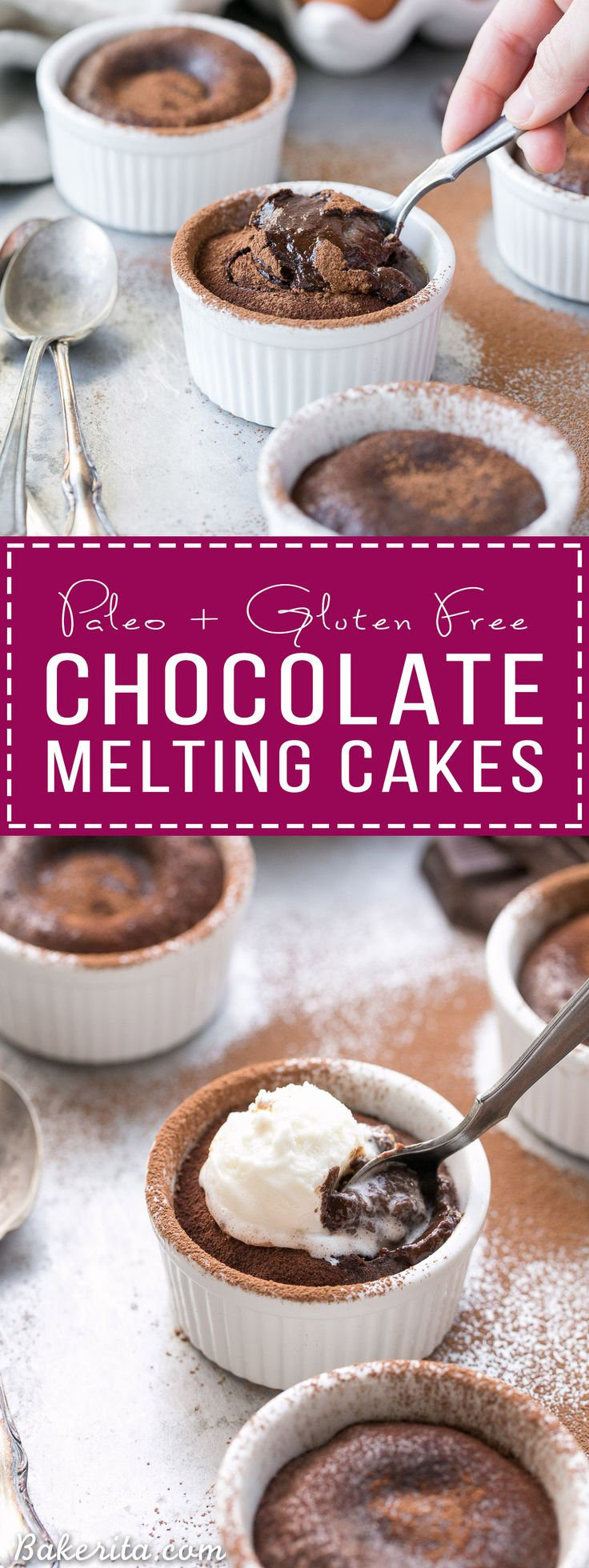 These Paleo Chocolate Melting Cakes are incredibly gooey, rich and chocolatey! This easy, five-ingredient recipe is a healthier take on Carnival's Chocolate Melting Cake. You'll love the melting, gooey center!
