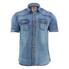 Mens Denim Shirt Tokyo Laundry Lanza Vintage Casual Short Sleeved Top