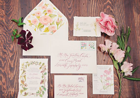 Vintage hand-painted garden wedding invitation suite by Etsy artist Heart Felt by Bri | photo by Mollie Crutcher Photography