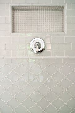 Various glass tiles from mosaic to arabesque to subway all in the same color