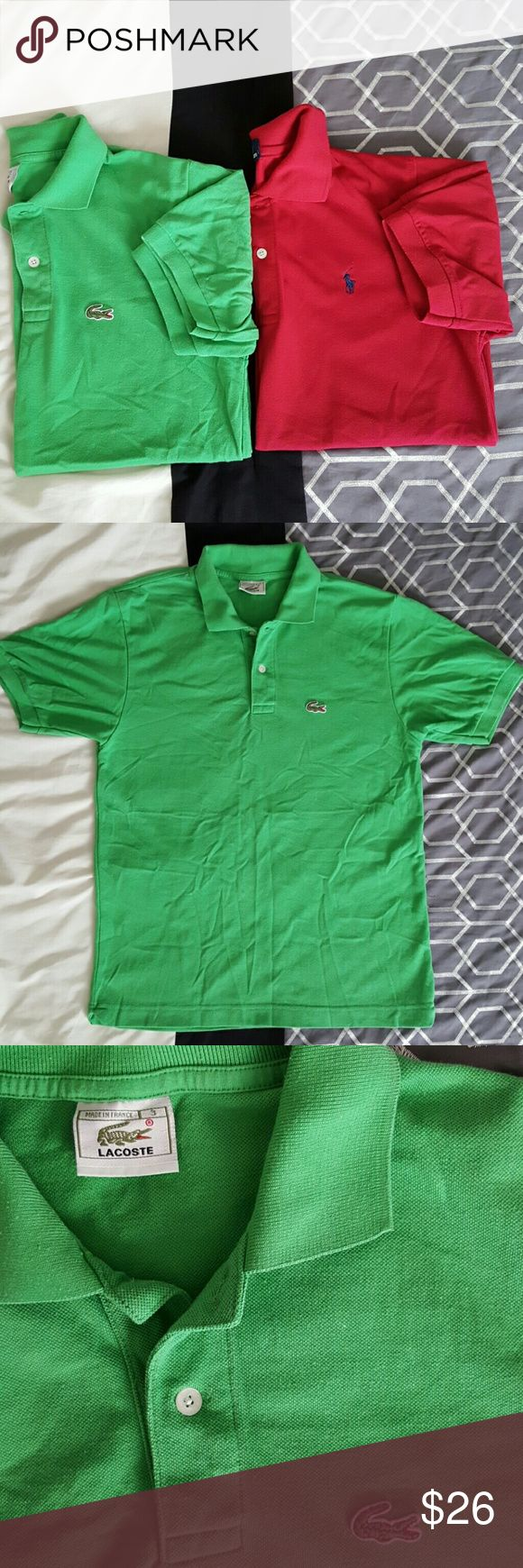Bundled Men's Polo shirts Size small Sold as bundle Small Lacoste green Polo Shirt. Small Ralph Lauren Polo Shirt. Both in excellent used condition. Lacoste Shirts Polos
