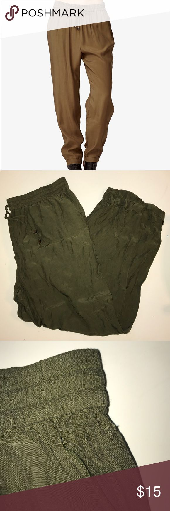 Olive Joggers Olive green joggers. They have a tiny hole near the waist band. (Pictured) Forever 21 Pants Track Pants & Joggers