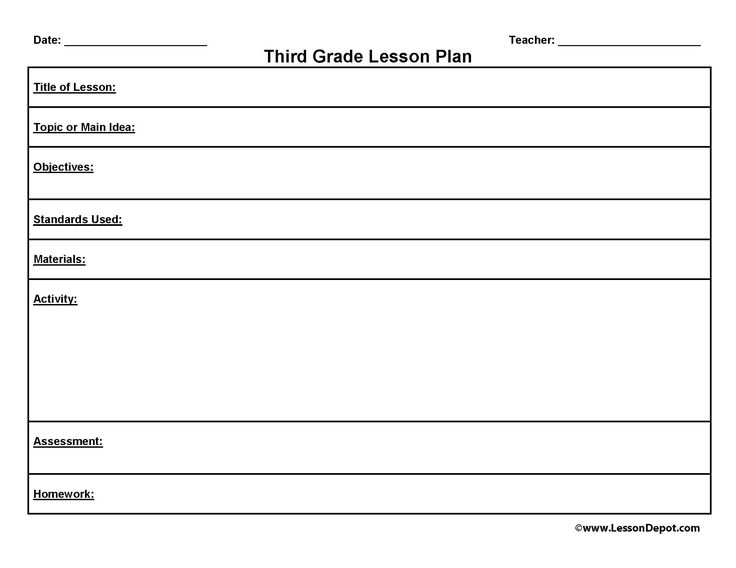 third grade lesson plan template
