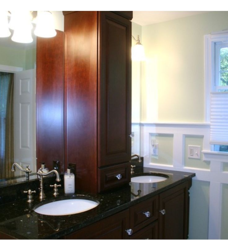 Maple Double Vanity With Black Granite Countertop With Linen Tower And Glass Cabinet Pulls