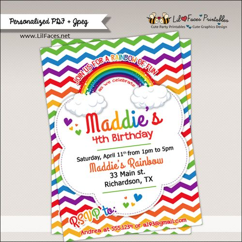 Rainbow Birthday Party Printable Invitation