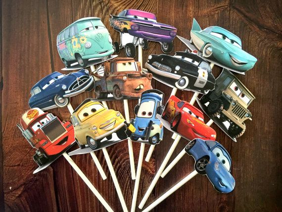 12 DISNEY CARS Cupcake and Cake Toppers Party by SoSweetMemories