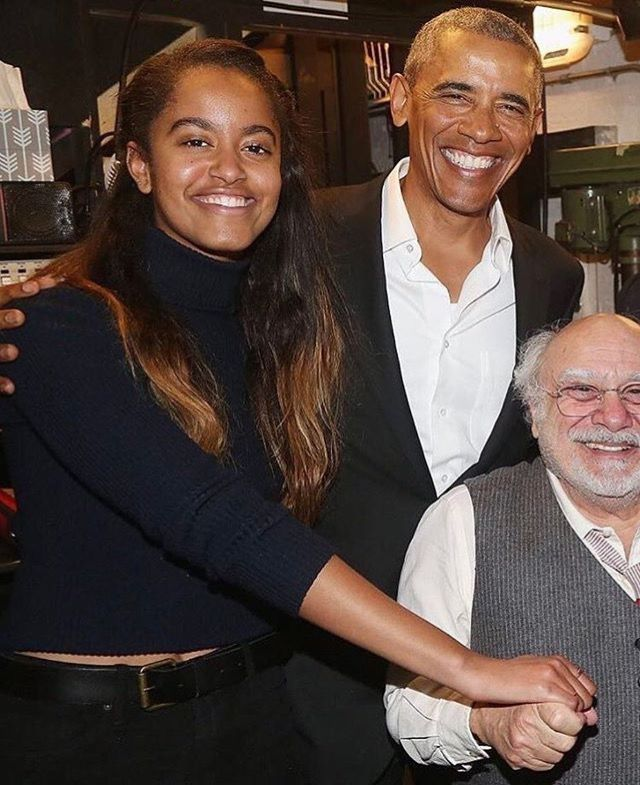 NYC February 24, 2017. How cute is Malia holding Danny DeVito's hand? That made me happy for some reason.