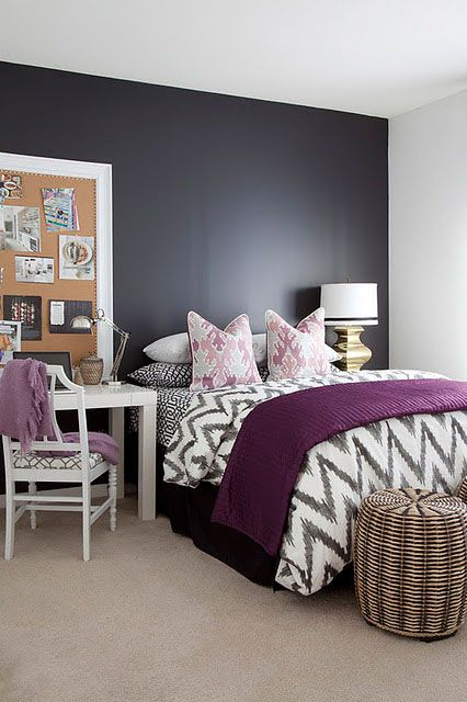 Love the accent wall & colour scheme