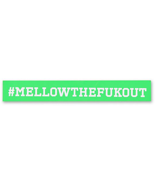 Don't just chill but #MellowTheFukOut with this Real Skateboards sticker. This rectangle sticker has the phrase written in white and is a peel and stick Real sticker just perfect for your deck, binder, or window! Rep Real Skateboards and their Mellow conc