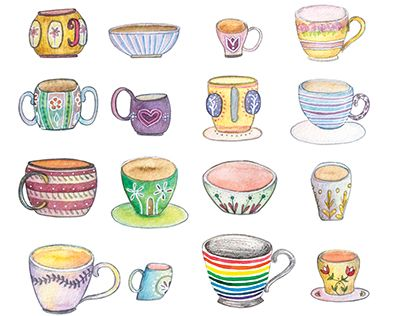 "Check out new work on my @Behance portfolio: ""Code: tea cups!"" http://be.net/gallery/33355321/Code-tea-cups  behance, watercolor, illustration, art, tea time, tea cups"