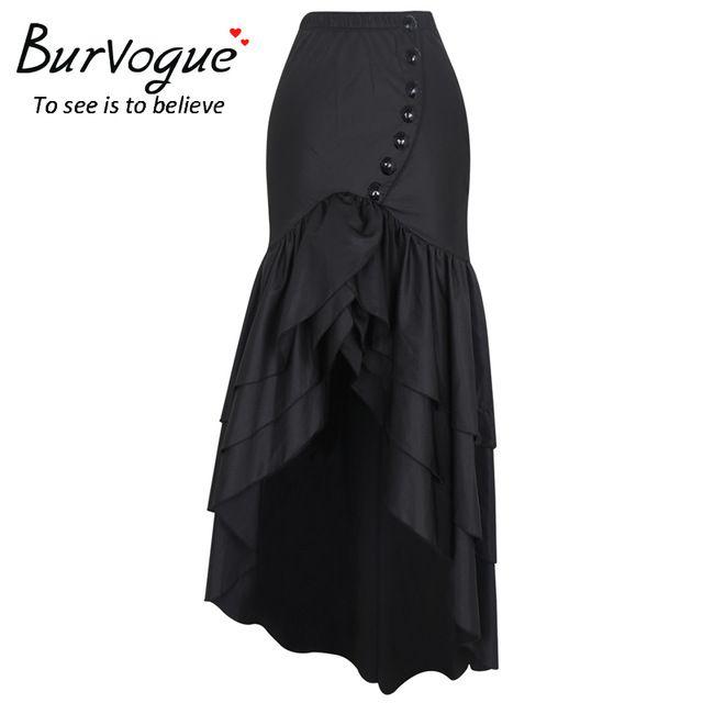 Burvogue 2017 mujeres falda larga de la moda steampunk gótico corsé faldas sexy cola de pez delgado elástico sirena maxi faldas