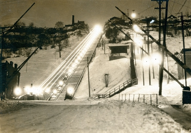 This is an image of the incline railway at Wentworth Street taken at night. The East End Incline Railway was opened in1895 and closed in 1936