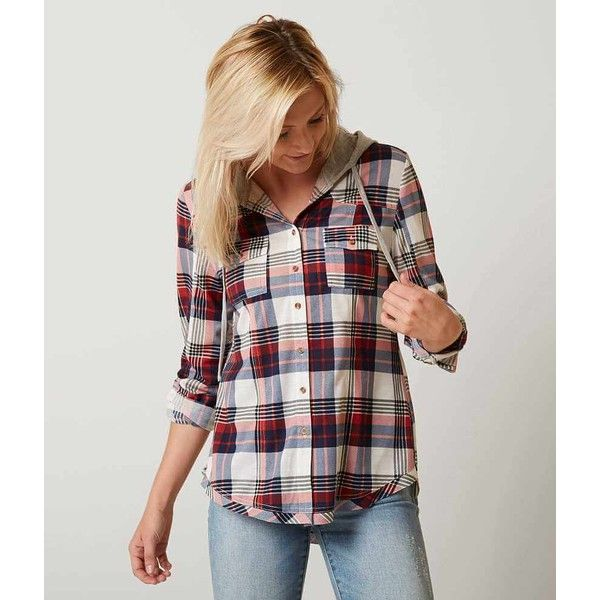 Women's Plaid Shirt in Blue/Red by Daytrip. (34 CAD) ❤ liked on Polyvore featuring tops, blue shirt, blue button up shirt, button up shirts, red shirt and red button down shirt