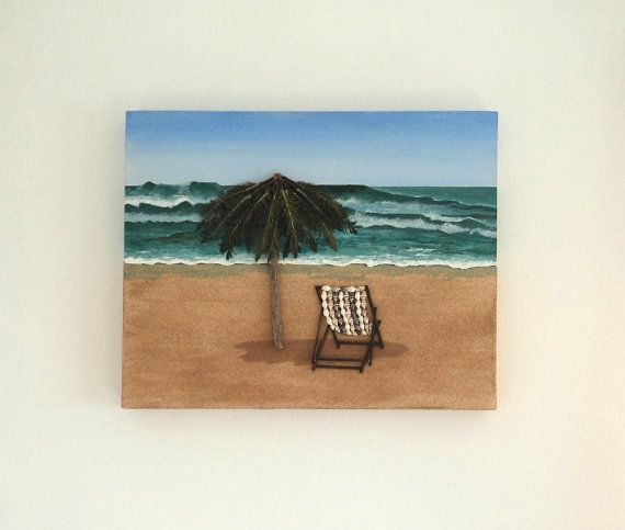 Acrylic Painting, Beach Artwork with Seashells and Sand, Art Wall Picture of Deckchair & Parasol in Seashell Mosaic, Mosaic Art, 3D Art Collage, Home Decor, Wall Decor #ArtworkwithSeashells #mosaiccollage #seashellmosaic #homedecor #walldecor #3D