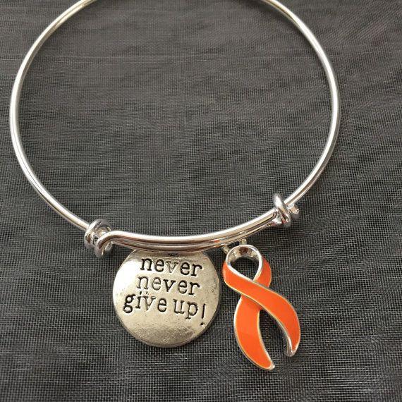 Bracelet with orange cancer ribbon/leukemia-Alex by SugarMeUpTwo
