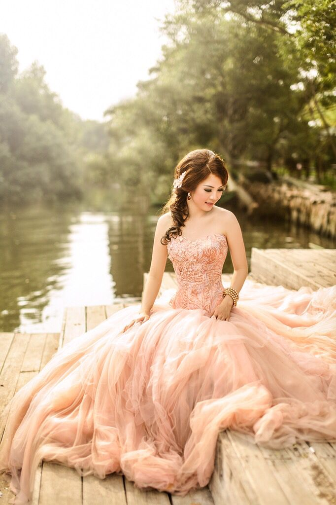 Melta Yani. Jacquard Bustier with Nude Long Tulle Gown