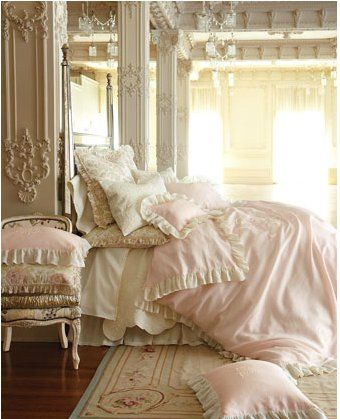 Frilly lace everywhere and so many pillows they couldn't even keep them on the bed for the photo shoot!